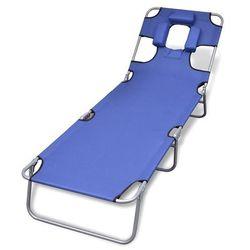 Vidaxl składany leżak z podgłówkiem i regulowanym oparciem, niebieski