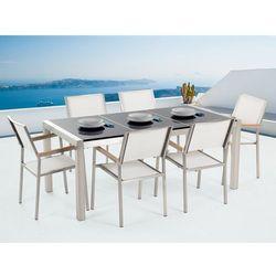 Beliani Meble ogrodowe - stół granitowy 180 cm czarny polerowany z 6 białymi krzesłami - grosseto, kategoria: zestawy ogrodowe