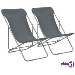 składane krzesła plażowe, 2 szt., stal i tkanina oxford, szare marki Vidaxl