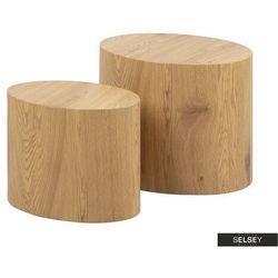 SELSEY Zestaw dwóch stolików kawowych Plomin 48x33 cm i 40x24,5 cm dąb (5903025297378)