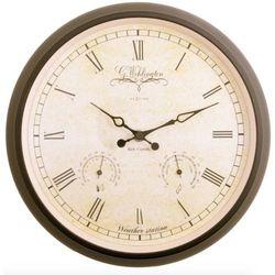 Nextime :: Zegar Ścienny Aaltje Weather Station Ø 25cm Czarny, kolor beżowy