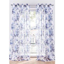Półprześwitująca firana w kwiaty (1 szt.) biało-niebieski marki Bonprix