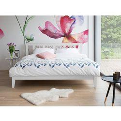 Łóżko białe - 160x200 cm - podwójne - ze stelażem - drewniane - CALAIS