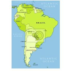 Fototapeta Ameryka Południowa mapa administracyjna - produkt z kategorii- mapy