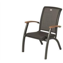 Krzesło ogrodowe w kolorze xerix/black grey | Da Vinci Dining with | podłokietniki z drewna tekowego (62901210)