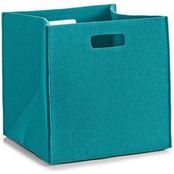 Kosz do przechowywania, kwadratowy, filcowy - pojemnik 33 l, kolor turkusowy, marki Zeller
