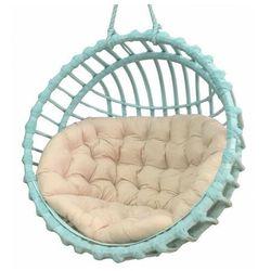 Turkusowy fotel wiszący z kremową poduszką - Petro 2X