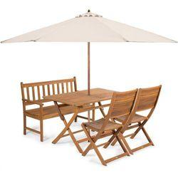 Fieldmann meble ogrodowe EMILY 4L + parasol kremowy