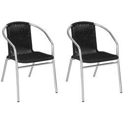 Krzesło ogrodowe 2 szt. metalowe, plecione krzesło na balkon czarne chrom