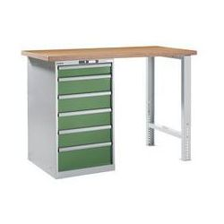 Stół roboczy kompletny, blat roboczy z multipleksu bukowego,wys. 1040 mm, szafka dolna, 6 szuflady