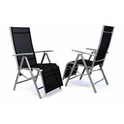 2x ustawialne krzesło ogrodowe z podnożnikiem - czarne