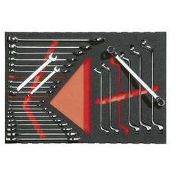 Zestaw narzędzi we wkładce z miękkiej gąbki,klucz oczkowy i szczękowy