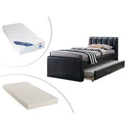 Łóżko wysuwane andrea - 2 × 90 × 190 cm - materiał skóropodobny świerk + materac do dostawki + materac zesus 90 × 190 cm marki Vente-unique