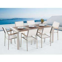 Meble ogrodowe - stół ze stali nierdzewnej 180 cm z drewnianym blatem z 6 białymi krzesłami - GROSSETO z kategorii Zestawy ogrodowe