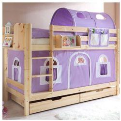 Ticaa łóźko piętrowe marcel sosna natur domek- fiolet/biel - bez tunelu marki Ticaa kindermöbel