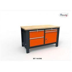 """Metalowy stół st 14/06 """"dwójka"""" do warsztatu 140 cm na narzędzia marki Malow"""