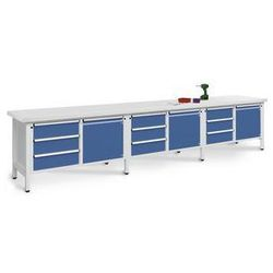 Stół warsztatowy, bardzo szeroki,3 drzwi, 9 szuflad z częściowym wysunięciem