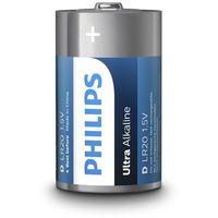 Philips Baterie alkaliczne  ultra alkaline lr20 d (blister) 2 sztuki