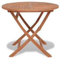 vidaXL Okrągły, jadalniany stolik do ogrodu, drewno tekowe