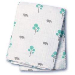 Muślinowy kocyk  - hipopotam i zielone drzewka marki Lulujo