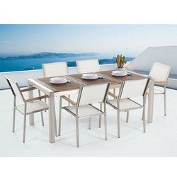 Beliani Meble ogrodowe - stół ze stali nierdzewnej 180 cm z drewnianym blatem z 6 białymi krzesłami - grosseto