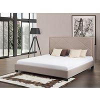 Beliani Łóżko beżowe - łóżko tapicerowane - 160x200 cm - marseille (7081452824676)