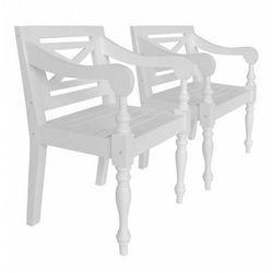 Mahoniowe krzesła tarasowe Amarillo 2 szt - białe