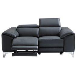 Vente-unique Sofa 2-osobowa franska z elektryczną funkcją relaksu, ze skóry – kolor czarny