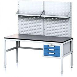 Stół warsztatowy MECHANIC II z panelem perforowanym i półkami, 1600 x 700 x 745-985 mm, 3 kontenery szufladowe, szary/niebieski