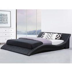 Łóżko wodne 180x200 cm – dodatki - skórzane - czarne - VICHY ze sklepu Beliani