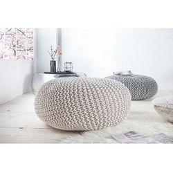 space:: puf knitted ball - biały?80cm - szary marki Interior