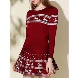 Scoop neck elk printed pullover christmas sweater and pleated mini skirt twinset od producenta Sammydress