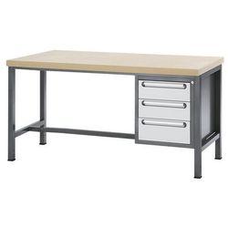Stół warsztatowy z płytą mdf, 3 szuflady, wys. 2x150, 1x180 mm, wys. x szer. x g marki Unbekannt