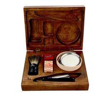 Margo 7-elementowy zestaw do golenia brzytwą w drewnianym pudełku - czarny