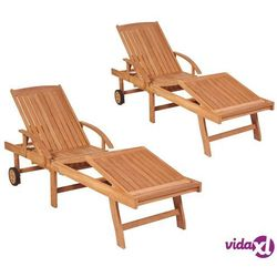 Vidaxl leżaki, 2 szt., lite drewno tekowe