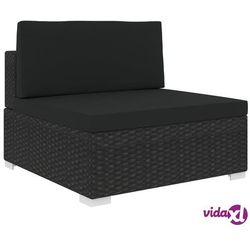 środkowa sofa z poduszką, polirattan, czarna marki Vidaxl