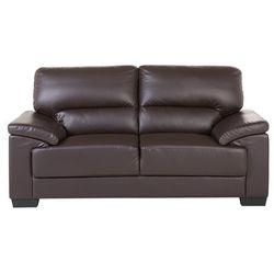Sofa brązowa - dwuosobowa - kanapa - skóra ekologiczna - VOGAR, kolor brązowy