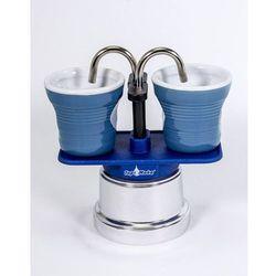 Top moka Kawiarka  mini 2 filiżanki niebieska + 2 kubeczki