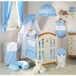 pościel 5-el haft miś na chmurce w błękicie do łóżeczka 70x140cm - szyfon marki Mamo-tato