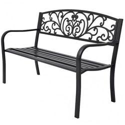 Metalowa ławka ogrodowa Clyde - czarna, vidaxl_42168
