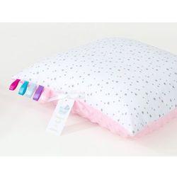 poduszka minky dwustronna 40x40 mini gwiazdki szare na bieli / jasny róż marki Mamo-tato