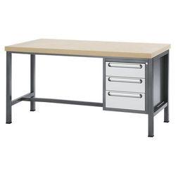 Stół warsztatowy z płytą mdf,3 szuflady, wys. 2 x 150, 1 x 180 mm marki Rau