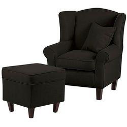 WEST fotel tapicerowany z pufą - grafitowy, 16445 / WEST 1H / TURIN CHARCOAL / CIEMNY BRĄZ
