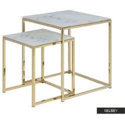 zestaw dwóch stolików kawowych bakar 45x45 cm i 35x35 cm marki Selsey