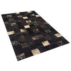 Beliani Dywan - brązowy - skóra - patchwork - 80x150 cm - bandirma (4260580925148)