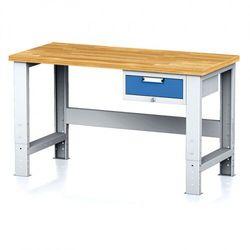 Stół warsztatowy mechanic, 1500x700x700-1055 mm, nogi regulowane, 1x szufladowy kontener, 1x szuflada, niebieska marki B2b partner