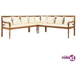Vidaxl 3-cz. sofa ogrodowa z poduszkami, lite drewno akacjowe