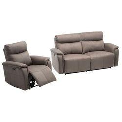 Sofa 3-osobowa + fotel HENEL z tkaniny, z elektryczną funkcją relaksu – kolor szary, kolor szary