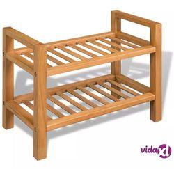 vidaXL Stojak na buty z 2 półkami, drewno dębowe 49,5 x 27 40 cm (8718475530770)