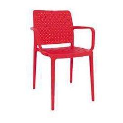 Nowoczesne krzesło ogrodowe z podłokietnikami do kawiarni Fame-K czerwone, towar z kategorii: Krzesła ogrodowe